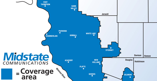 Midstate Communications Coverage Area
