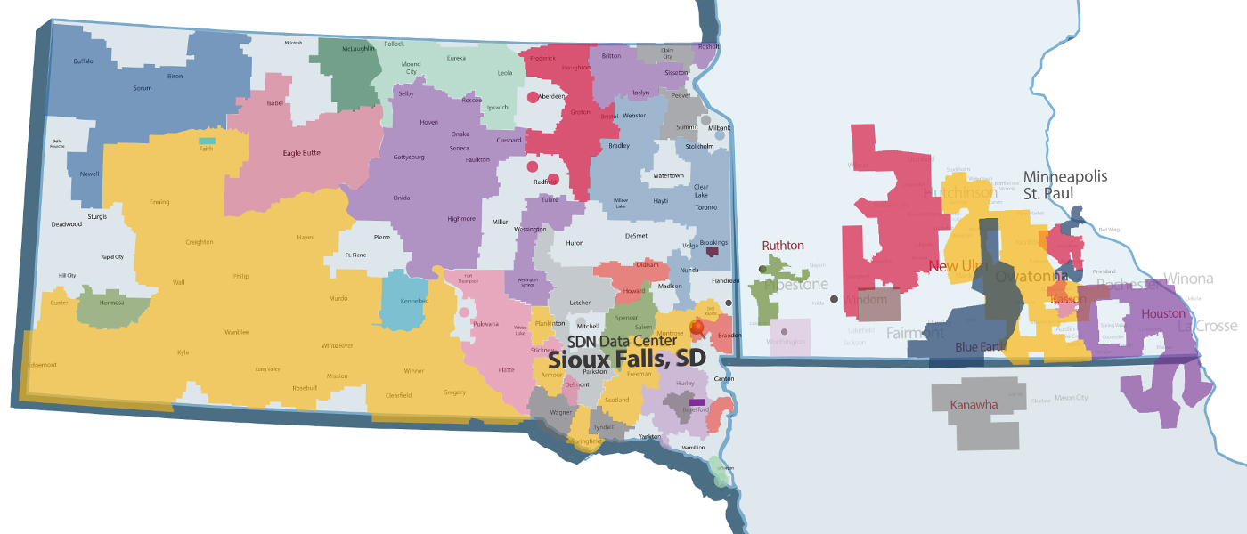 SDN Communications Member Territories covering SD, MN & IA