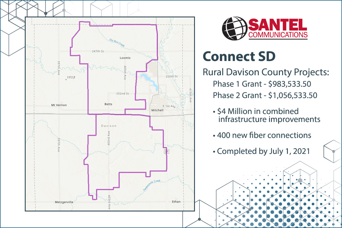 Map of Santel's Connect SD project area west of Mitchell